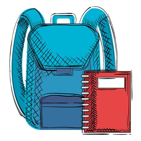 school bag with notebook vector illustration design Ilustração