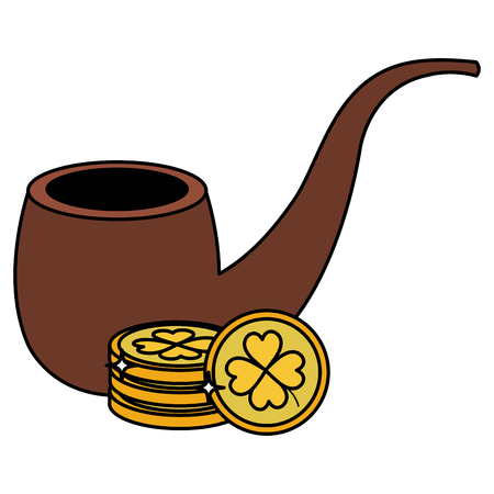 pile coins with clover and pipe wooden vector illustration design Illustration