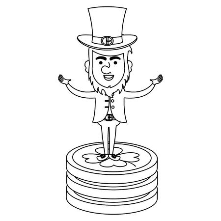 irish elf with pile coins vector illustration design Illustration