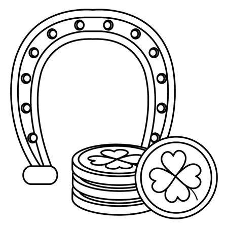 pile coins with clover and horseshoe vector illustration design