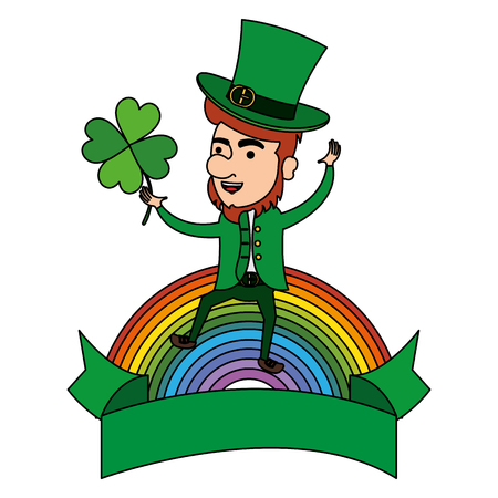 leprechaun with clovers leafs and rainbow character vector illustration design