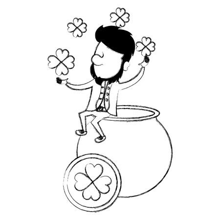 saint patrick cauldron with irish elf vector illustration design