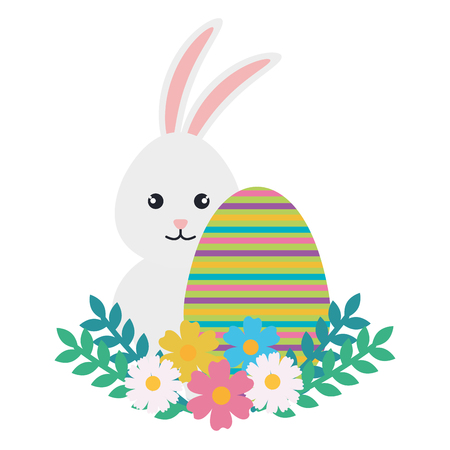 egg paint with cute bunny and flowers easter decoration vector illustration