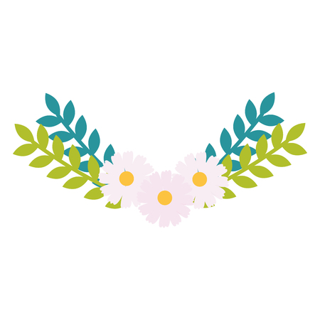 flowers and leafs garden decorative vector illustration design