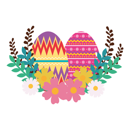 eggs paint easter with floral decoration vector illustration design
