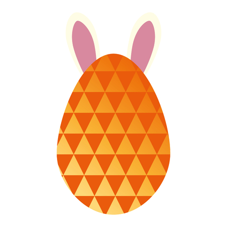 egg paint with ears bunny easter decoration vector illustration design Illustration