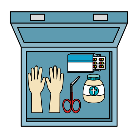 medical kit with equipment vector illustration design