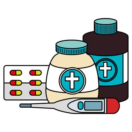 pills drugs with bottles and thermometer vector illustration design