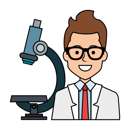 doctor with microscope avatar character vector illustration design Vectores