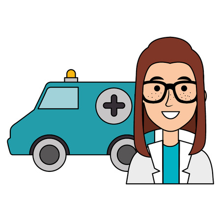 female doctor with ambulance avatar character vector illustration design