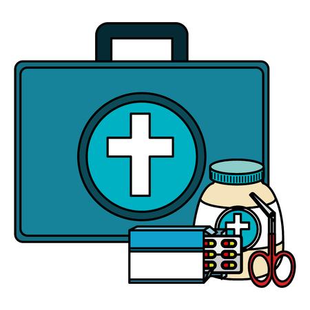 medical kit with equipment vector illustration design