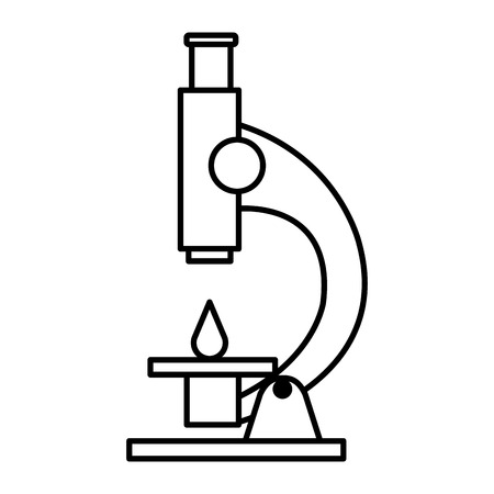 microscope laboratory with blood drop vector illustration design Illustration