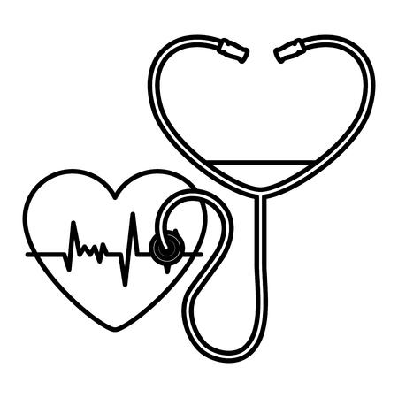 cardiologia del cuore con disegno di illustrazione vettoriale di stetoscopio Vettoriali