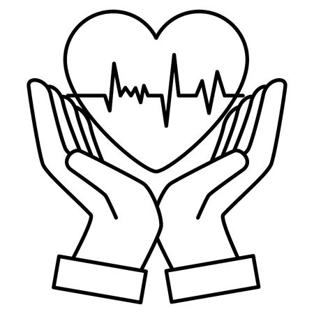 hands with heart cardiology vector illustration design