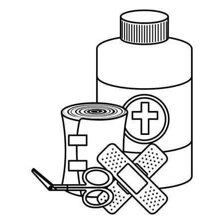 medical emergency kit items vector illustration design Illusztráció