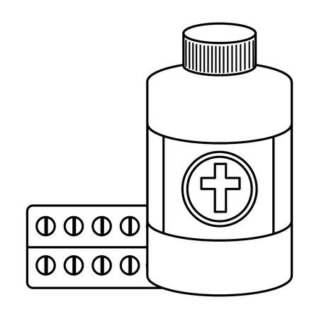 pills drugs with bottle medical vector illustration design