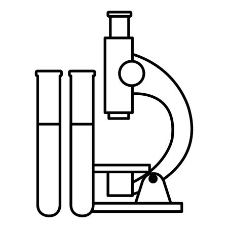 microscope laboratory with tube test vector illustration design Illustration