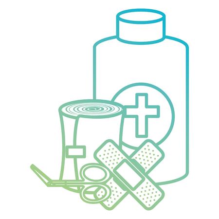medical emergency kit items vector illustration design Illustration