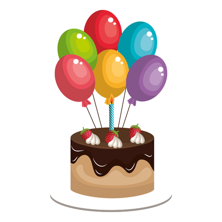 delicious cake with balloons helium celebration vector illustration design