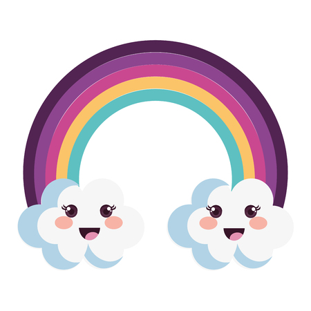 cute rainbow with clouds characters vector illustration design