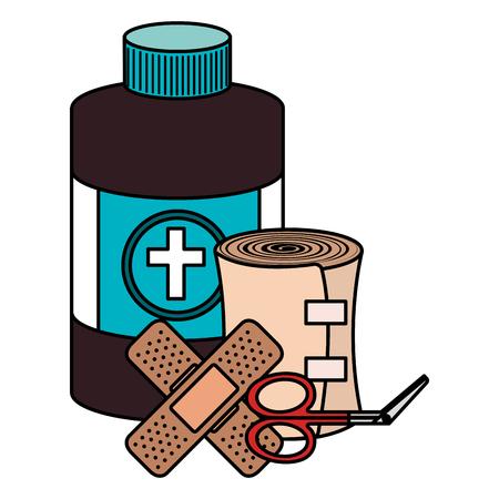 Elementos del kit de emergencia médica, diseño de ilustraciones vectoriales