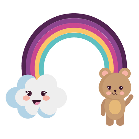 cute rainbow with cloud and teddy characters vector illustration design Illustration