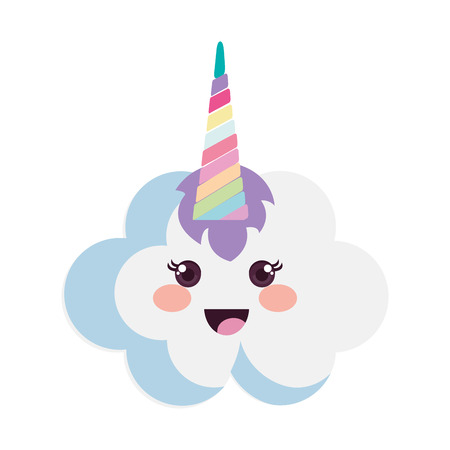cute clouds with party hat characters vector illustration design