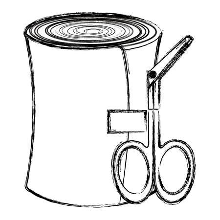 Vendaje médico y tijeras, diseño de ilustraciones vectoriales