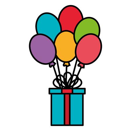 giftbox present birthday with balloons helium celebration vector illustration