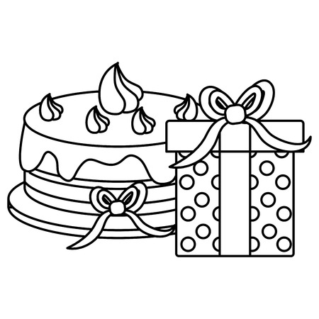 giftbox with sweet cake birthday celebration vector illustration design