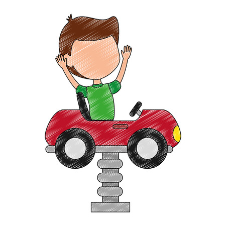 little boy in cart toy with spring vector illustration design