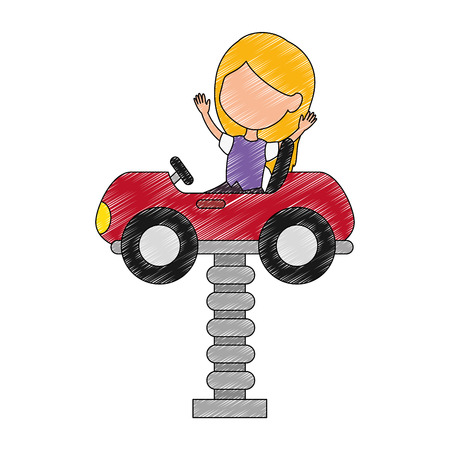little girl in cart toy with springvector illustration design Çizim