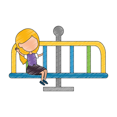 girl playing in park playground wheel icon vector illustration design