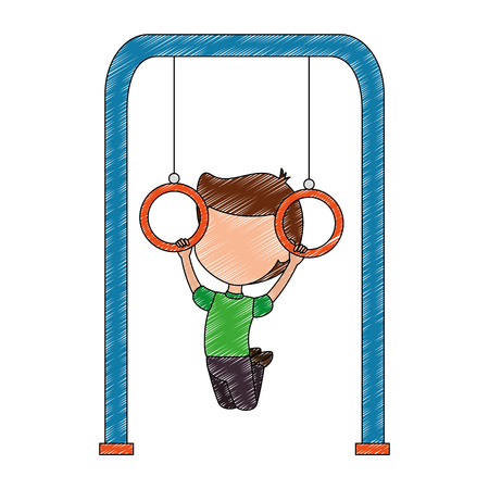boy playing in park playground rings hanging vector illustration design Banque d'images - 102380122