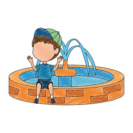 boy sitting in park sink vector illustration design Illustration