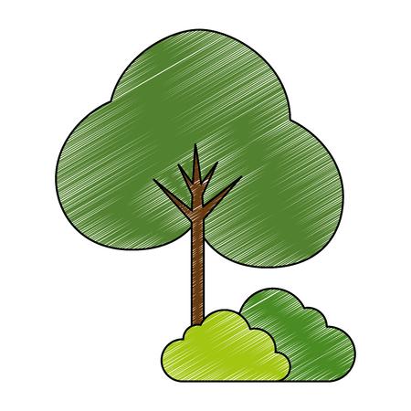 Planta de árbol y bosque de arbustos, diseño de ilustraciones vectoriales