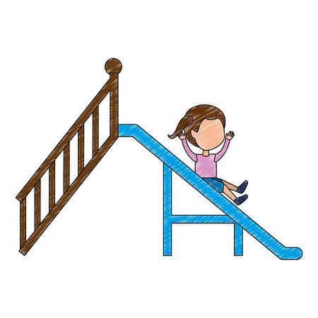 girl playing in playground slide icon vector illustration design Stock Illustratie