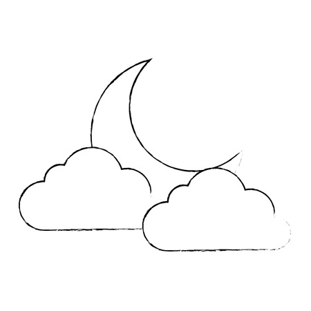 climate cloud with moon vector illustration design