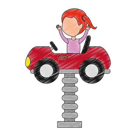 little girl in cart toy with spring vector illustration design Çizim