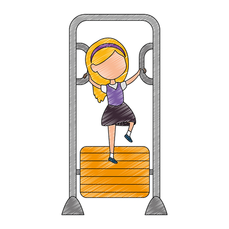 girl playing in park playground bars vector illustration design Illustration