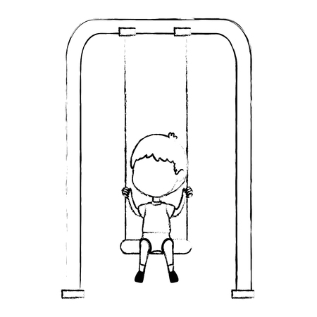 boy playing in swing park playground hanging vector illustration design