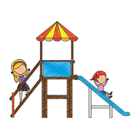 girl playing in tower and slide vector illustration design Vectores