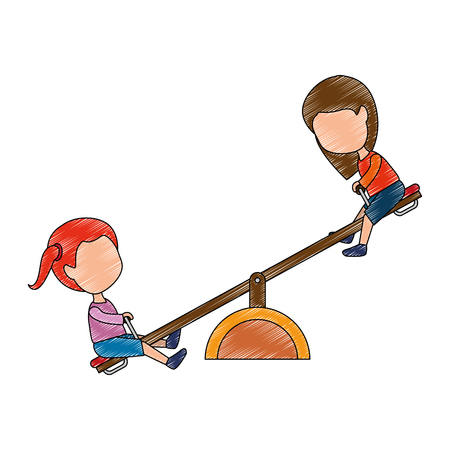 girls playing in up and down park playground vector illustration design