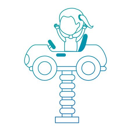 little girl in cart toy with spring vector illustration design Foto de archivo - 102382901