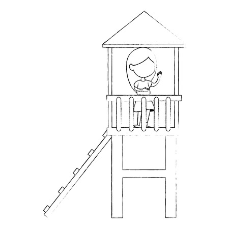girl playing in tower and slide vector illustration design Çizim