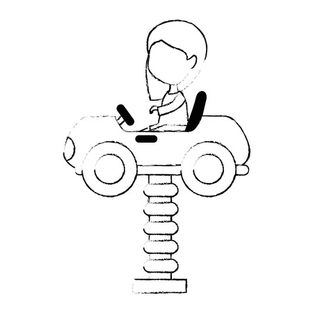 little girl in cart toy with springvector illustration design Foto de archivo - 102403688