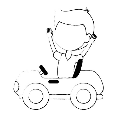 boy in little cart toy icon vector illustration design
