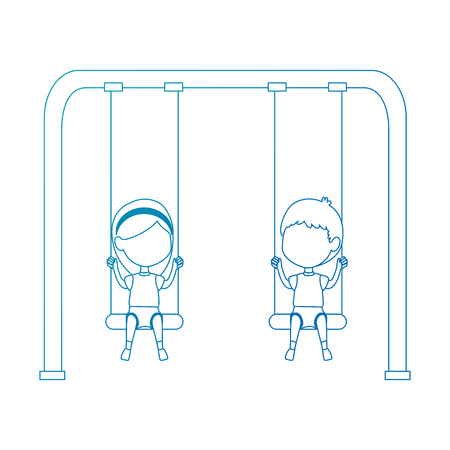 kids playing in swing park playground hanging vector illustration design