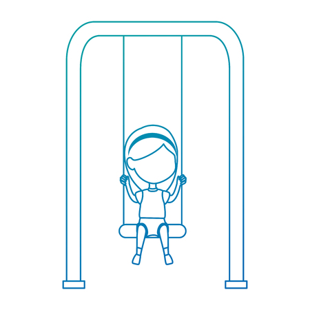 girl playing in swing park playground hanging vector illustration design