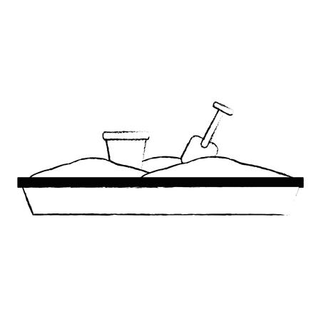 sand game park with shovel and bucket vector illustration design Stock Illustratie